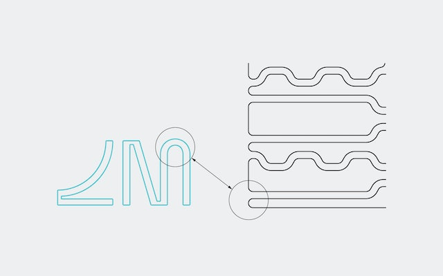 Linking the interference pattern with logo geometry