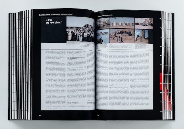 The book contains a wide range of scans of original articles from architecture publications.