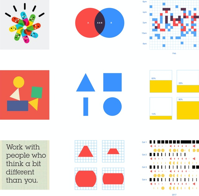 Classic IBM brand graphics informed a new palette for data visualizations for the computing giant.