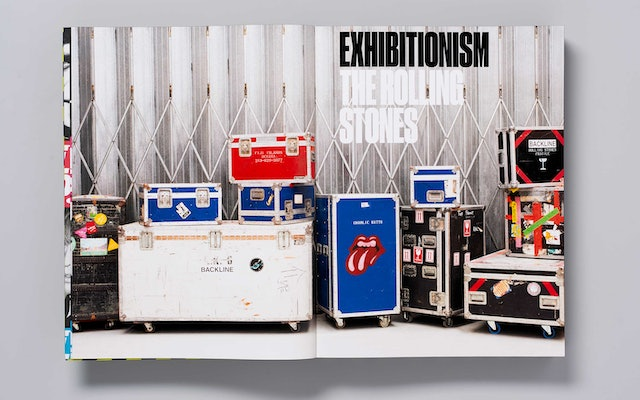 The opening title page spread pictures crates from one of the band's tours.