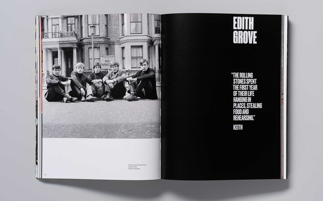 Opening spread of a section about Edith Grove, the band's first flat in Chelsea.