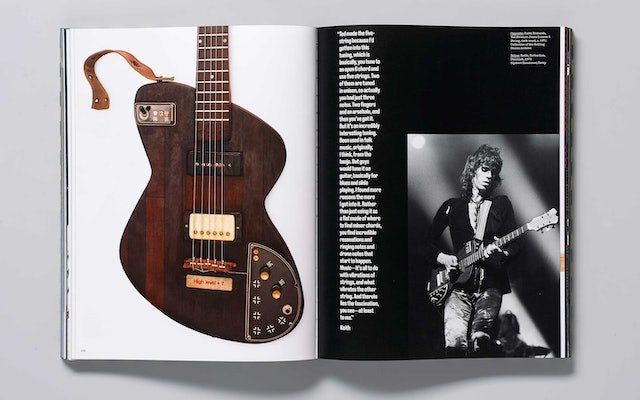 A quote from Keith Richards accompanies one of his guitars from c. 1971.