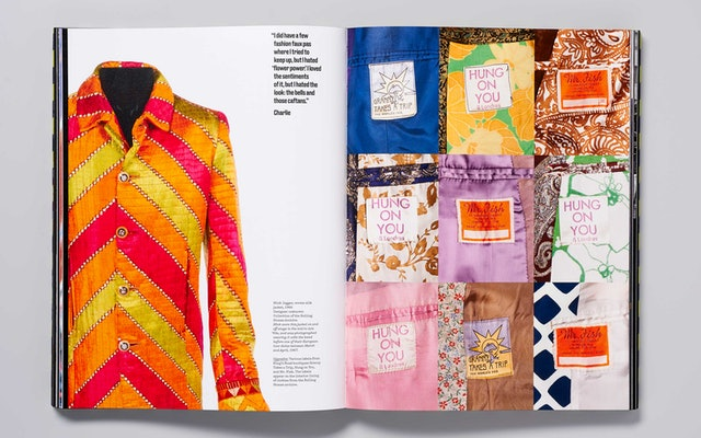 Woven silk jacket worn by Mick Jagger, 1966, left; various labels from King's Road boutiques, right.