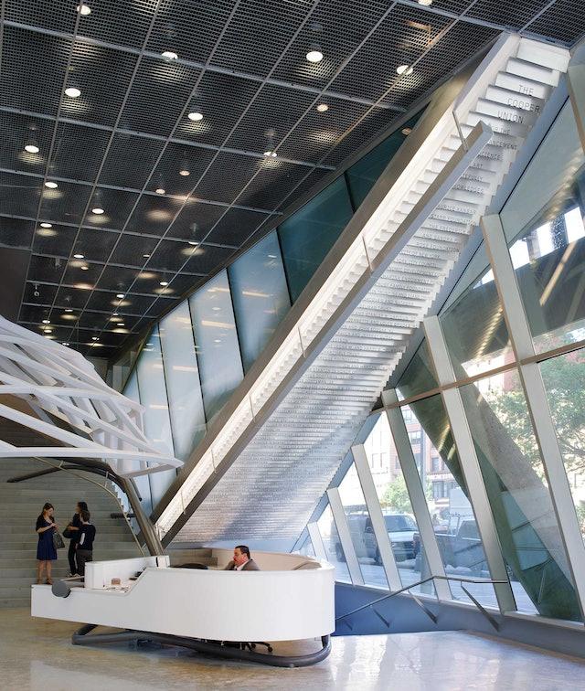 The lobby atrium at 41 Cooper Square.
