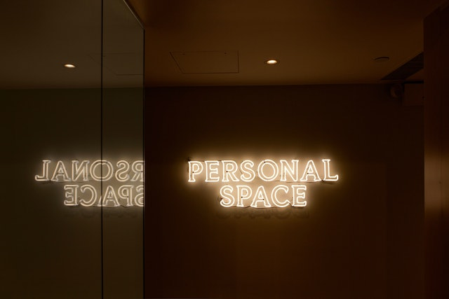 Neon signage for The Wing's Personal Space.