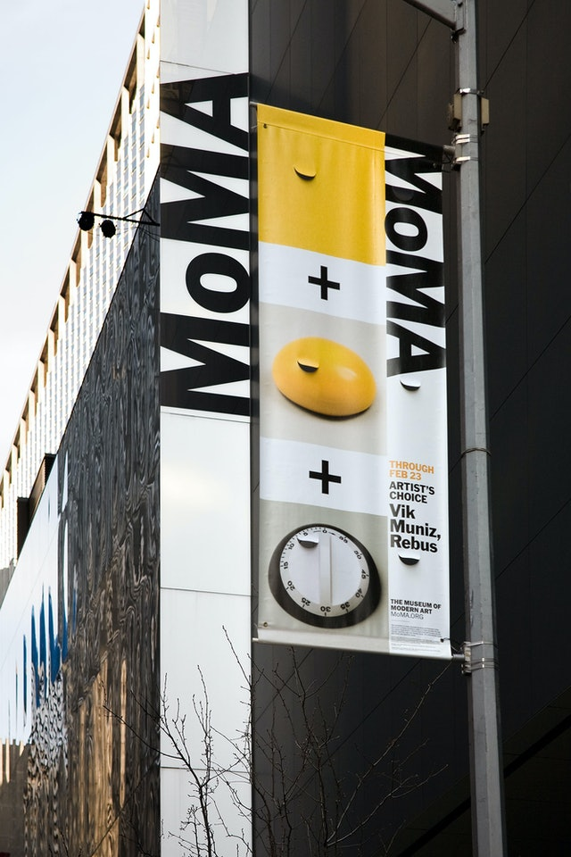 The new identity's vertical logo placement echoes signage on the museum's façade.