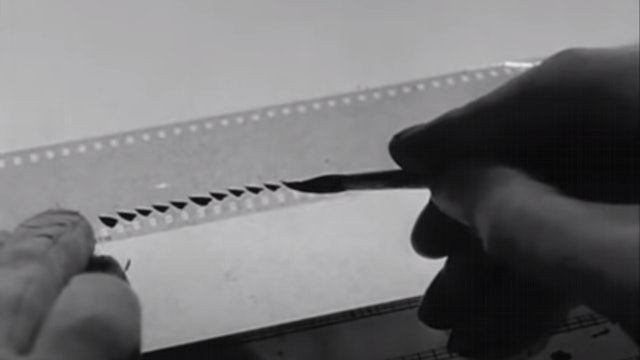A technique created by Norman McLaren that exploits the use of a sound-track on a film strip that can be drawn on with a pen to create dynamic and bold percussive sounds.