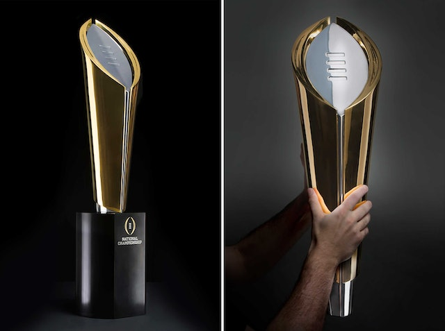 The new College Football Playoff National Championship trophy. Photos by Joe Faraoni/ESPN Images.