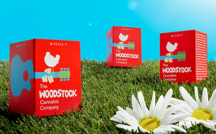 b42601758d92 Brand identity and packaging for the line of marijuana extracts celebrates  the seminal Woodstock festival.