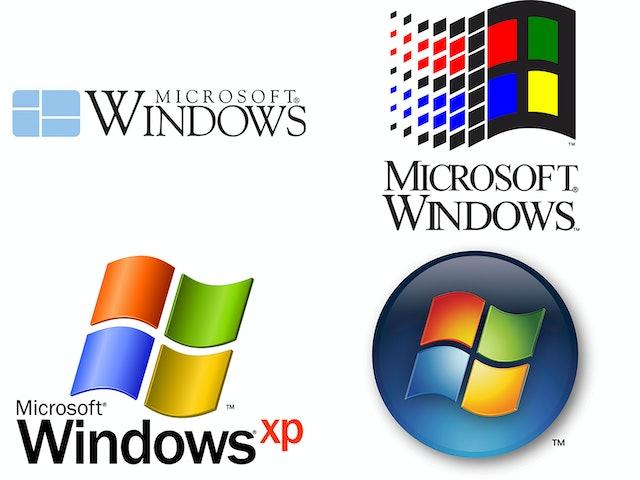 A selection of previous Windows logos.
