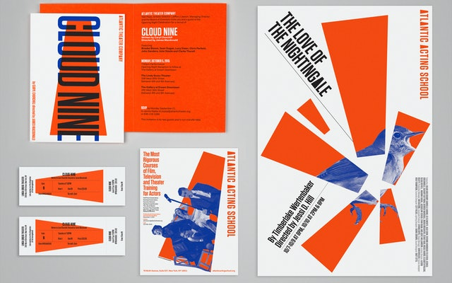 Tickets, postcards and other collateral featuring the new identity.