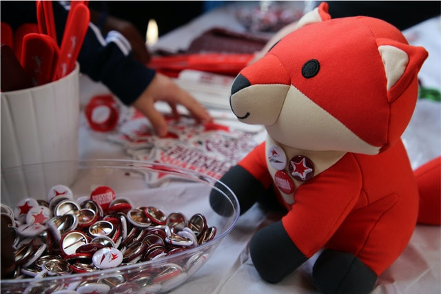 Fox stuffies and other branded swag were given away at Founder's Day.