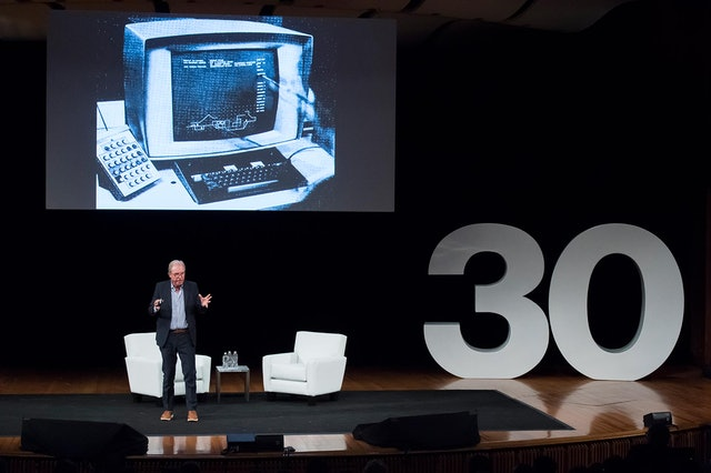 Nicholas Negroponte, co-founder of the MIT Media Lab, on stage at the event.