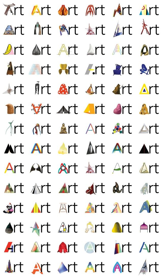 A series of 200 'A's were created representing different styles of art and works in the collection.