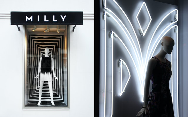 Window displays at the Milly boutique in New York.