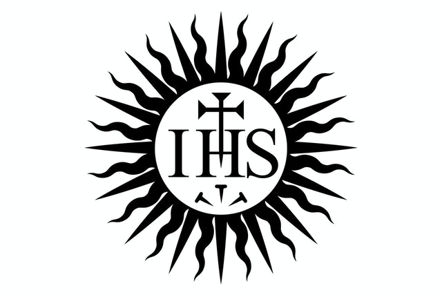 The 500-year-old Jesuit seal, a sunburst/halo, was the inspiration for the new spirit mark.