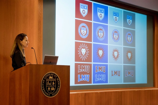 LMU's Maureen Pacino presented the new identity at nearly 40 town hall forums.