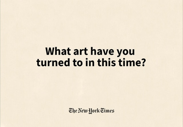 """Animated version of the data visualization answering """"What art have you turned to in this time?"""""""