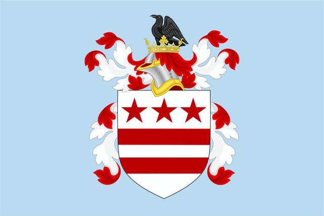 George Washington's family crest inspired the Washington DC flag.
