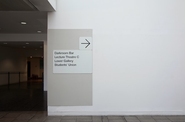 All the signage has a perforated powder-coated aluminium background plate