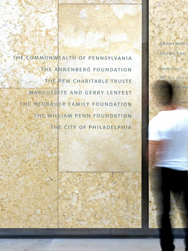 Donor wall in the Annenberg Court.