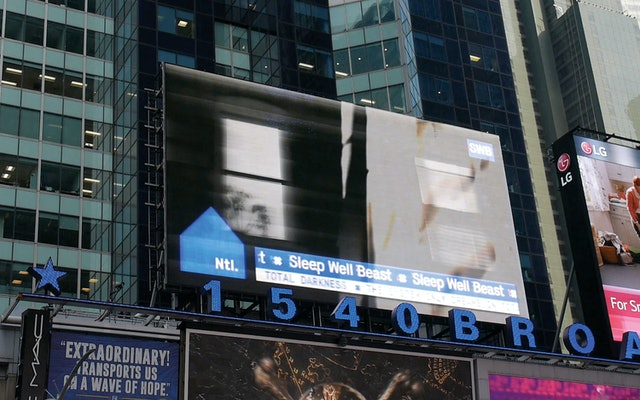 A billboard in Times Square announced the new album and cover.