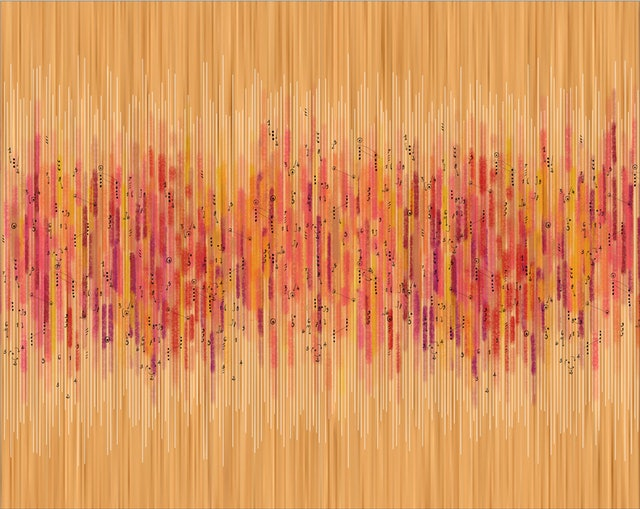 The playing of 200 notes, one for each year, became a tapestry of data-driven colors and notations.