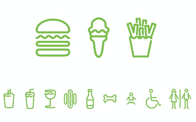 The more comprehensive identity includes neon-like icons.