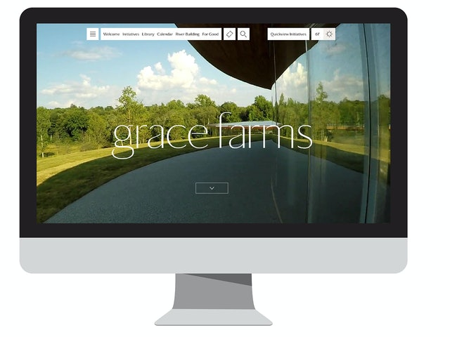 The homepage of the Grace Farms website features a video that gives a sense of the environment and architecture.