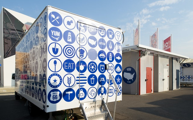 The food trucks are covered in the icon pattern.
