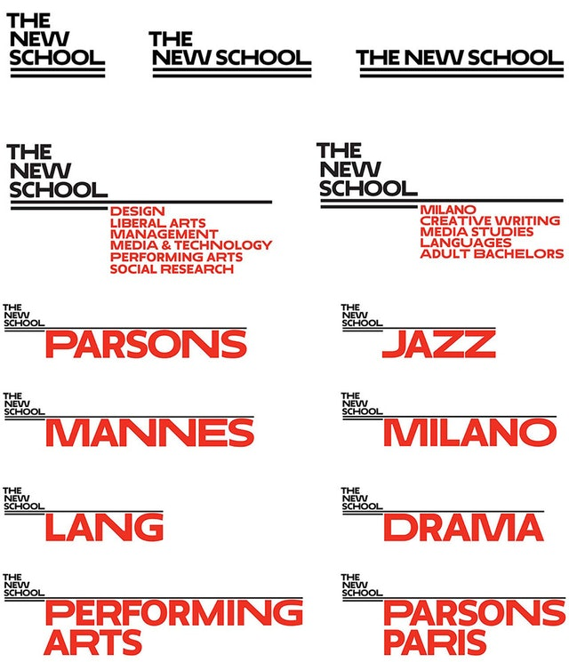 In the new system, each school has its own logo, set in Neue, with The New School identity acting as