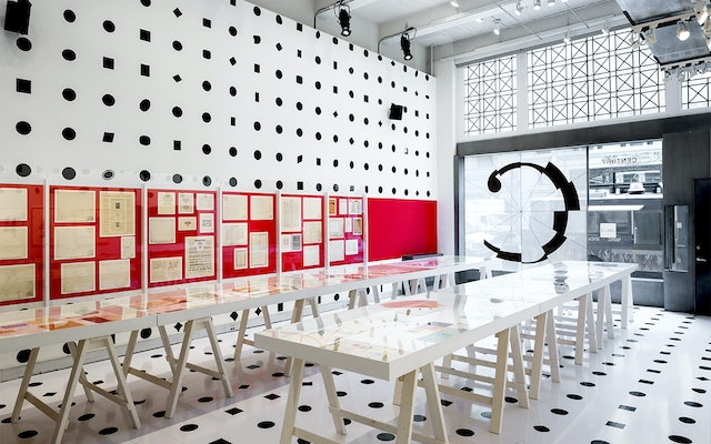 The exhibition design creates an immersive environment that highlights the diversity of type forms.