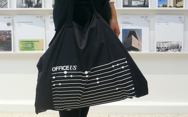 The OfficeUS tote features an interpretation of the timeline infographic.