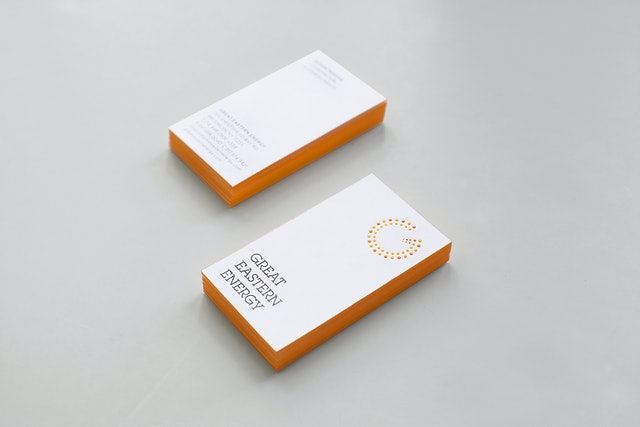 Great eastern energy pentagram nj gee 1031 enlarge the identity is embossed on stationery and edges of business cards are printed orange reheart Choice Image