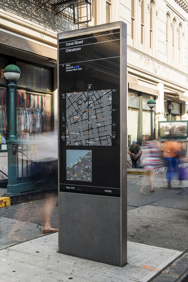 The kiosks present two maps, one of local streets and the other of the area's location in relation to the city.