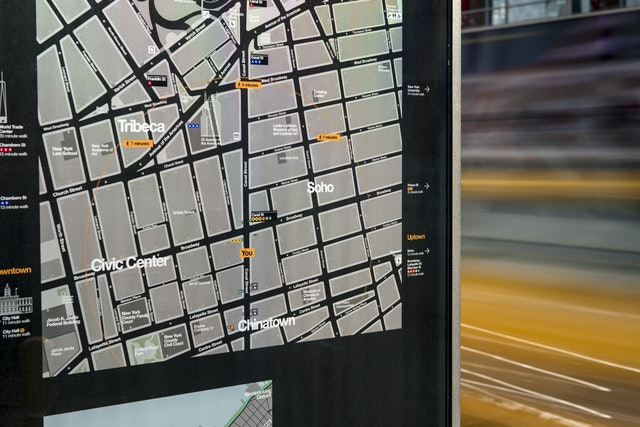 The maps use a 'heads up' orientation that corresponds to the direction the user is facing.