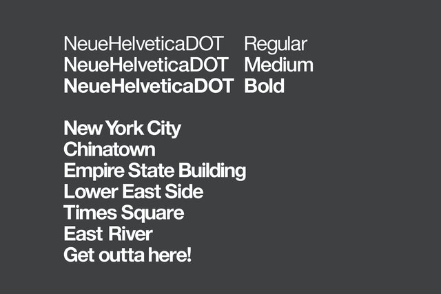 A customized version of Helvetica was created for the program.