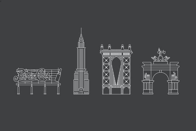 Icons for buildings and attractions around the city.