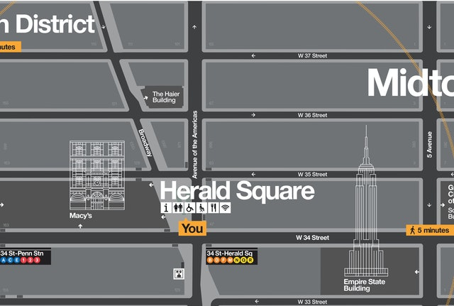 Landmarks are layered into other information on the map.
