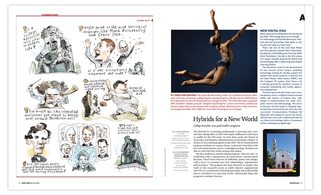 Barry Blitt's 'Commentary' feature, left, in the magazine's front-of-book section, Arcade.