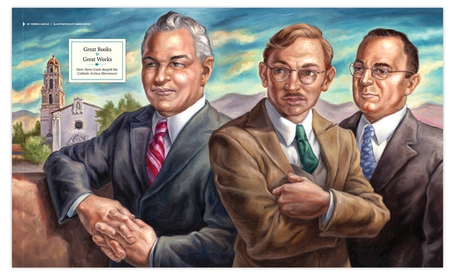 Illustrator Owen Smith's painting of three of Saint Mary's founders.