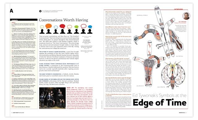 The 'Interview' column talks with Professor Ed Tywoniak about aboriginal symbols, right.