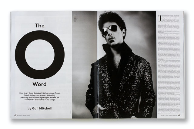 Opening spread of the cover story on Prince.