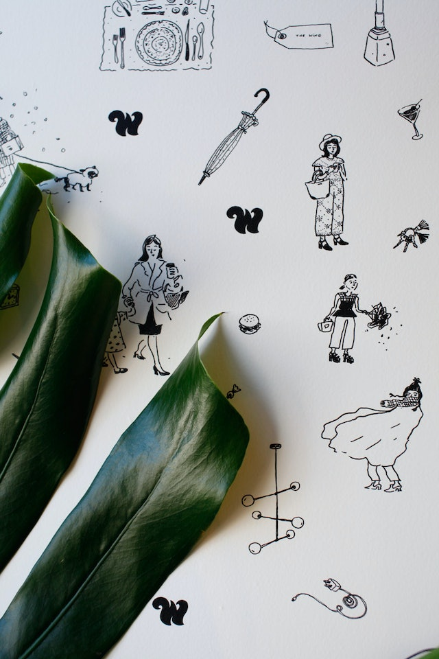 The wallpaper features drawings by illustrator Joana Avillez.